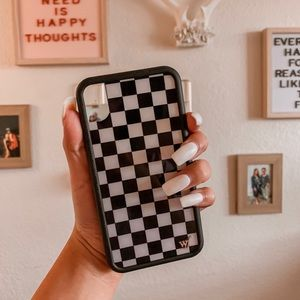 Wildflower Black & White Checkered iPhone XR Case
